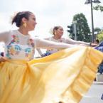 Die Tänzer*innen der Dominikanischen Republik sind auch treue Teilnehmer*innen der Parade der Kulturen. Foto: David Wedmann / FJR